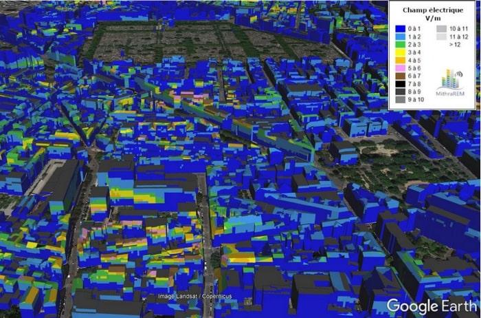 exemple de rendu des niveaux de champs électriques à l'intérieur des bâtiments par l'ANFR
